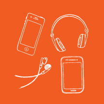 cellphone and headphones hand drawn illustrations.