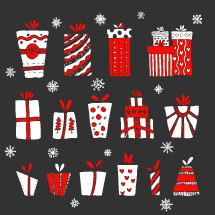 Hand-drawn Christmas gifts and boxes for winter and holiday illustrations.
