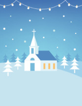 Christian Church Building and Snowy Hills Christmas Card or Poster