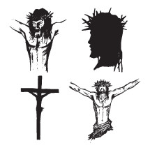 Vector sketches of Jesus on the cross.