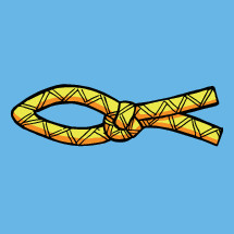 The traditional Christian fish symbol (Ichthys) made with rope and a knot in the tail. Flat colour with black outline.