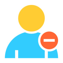 rejected. Person user icon with minus symbol. Member sign. Avatar button. Man pictogram. Web internet icon created in trendy flat style. Quick and easy recolorable shape isolated on white background. The graphic element saved as a vector illustration in the EPS file format for used in your design projects.