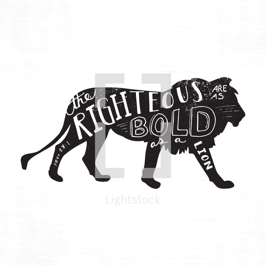 Hand drawn lettering on lion silhouette.