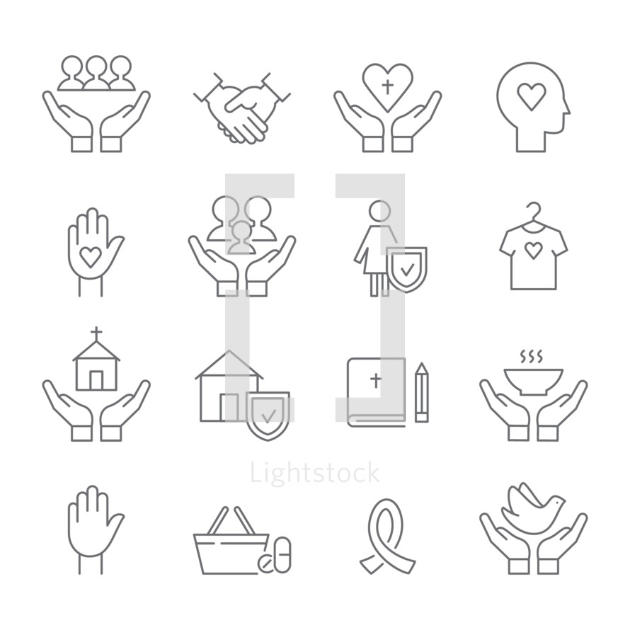 Church, Social Care and Ministry Line Icons