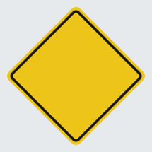 blank caution road sign
