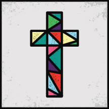 stained glass window cross icon