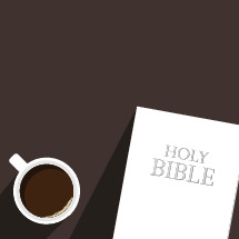coffee mug and Holy Bible illustration.