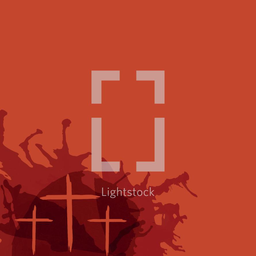 three crosses on orange