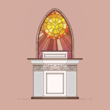 A classic pulpit vector illustration featuring a stained glass backdrop.