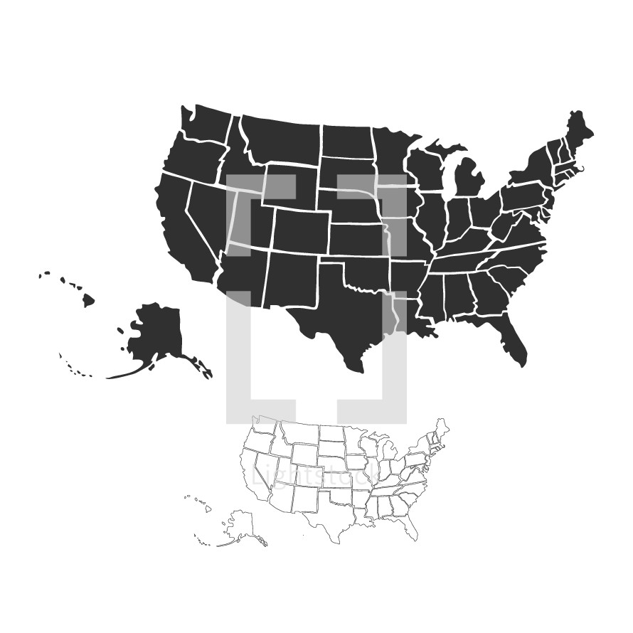 Vector hand drawn map of the United States of America.