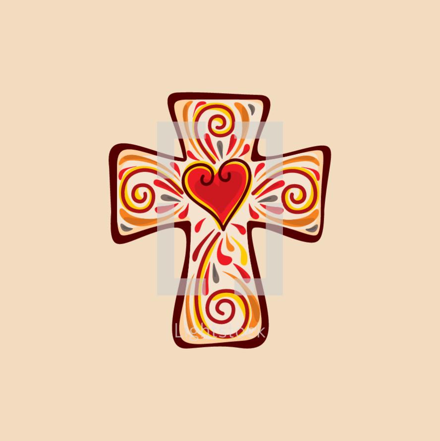 cross with swirls