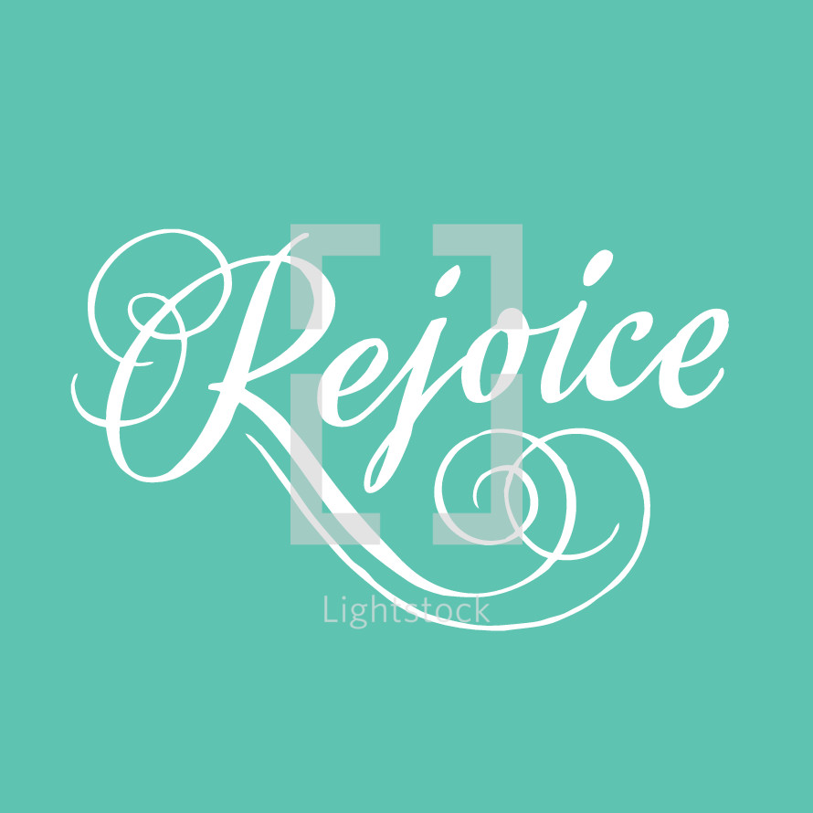 Rejoice custom ornamental script lettering on teal background