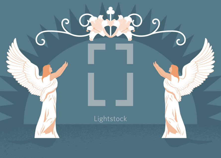 And Easter or Christmas background illustration with an angel on either side, flower flourish and a sun rise.