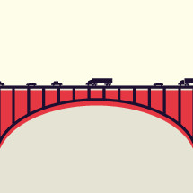 vehicles crossing a bridge.