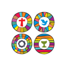 cross, dove, chalice, crown of thorns, Christian, icons, rainbow, stained glass window, colorful, badge