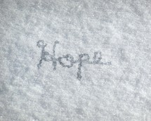 Hope written in snow.