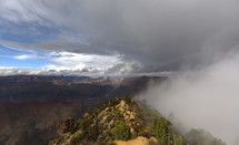 Fog and mountain canyons