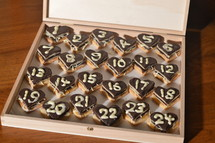 sweet hearts Advent calendar with 24 chocolate marzipan hearts for my sweetheart.