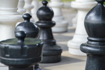 Chess figures on a board.