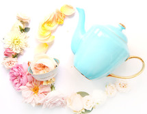 tea pot and flowers