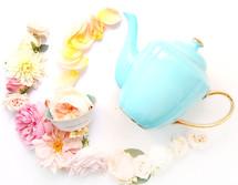 tea pot and flowers