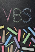 chalk on slate and VBS