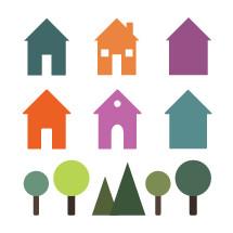 homes, houses, trees, neighborhood, icon