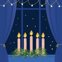 Christmas Advent Wreath with Candles on Window Sill