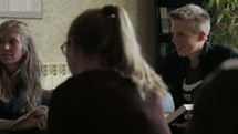 discussions at a young adult Bible study