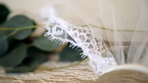 wedding veil and eucalyptus leaves
