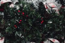 Christmas pine garland closeup