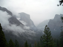 A Fog bank shrouds the canyons in Yosemite National Forest in California during a winter day in February.