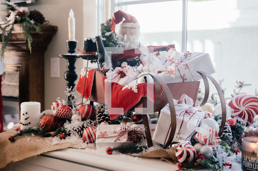 Gifts In Santa S Sleigh Christmas Decoration Photo By John Esparza