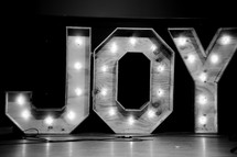 JOY lighted sign