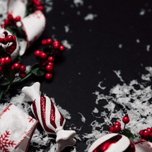 peppermint and ribbon Christmas scene