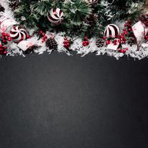 Christmas border on black background