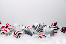 peppermint and silver Christmas ornaments