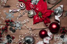 Christmas scene on wood background