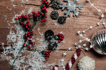 Christmas decorations on wood