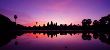 Fuschia sky over Cambodia. Angkor Wat, Sunrise. Dawn.
