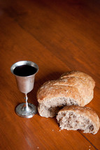 Broken bread and a chalice of wine.