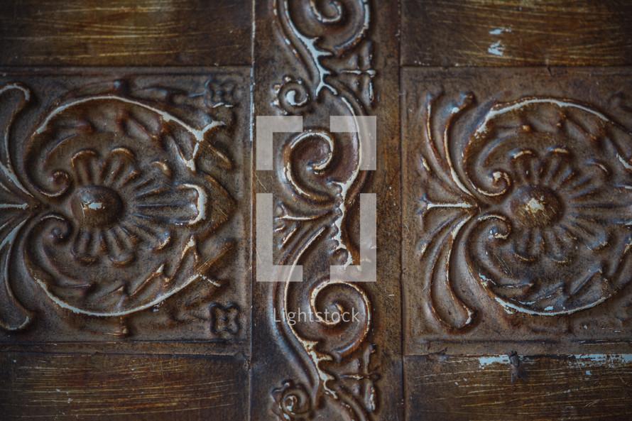 decorative metal on a door
