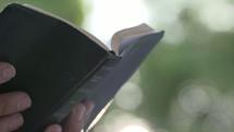 man reading a Bible outdoors