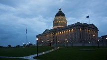time-lapse of passing clouds over the capital building