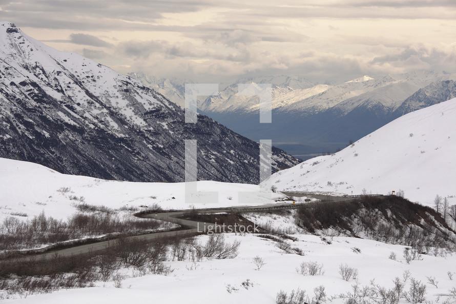curvy winter mountain road