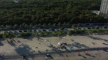 Drone flying over a beach