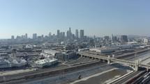 city skyline and train tracks