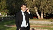 businessman talking on a cellphone