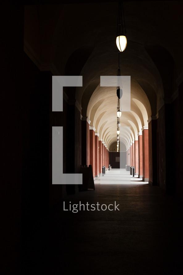 hanging lights in a hallway corridor