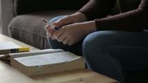a girl talking at a Bible study